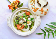 Canh chua cá lóc nấu rau rút và nấm