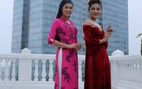 Hoa hậu Ngọc Hân diện áo dài dát vàng trong