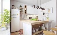 Căn bếp nhỏ tinh tế và hiện đại nhờ sơn trắng toàn bộ không gian