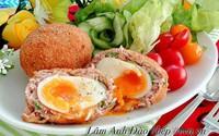 Thịt bọc trứng chiên lòng đào lạ miệng mà ngon
