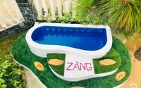 Chỉ với 1 triệu đồng, ông bố trẻ ở Phú Yên tự tay xây bể bơi chỉ trong nháy mắt cho hai con