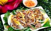 Đổi món với thịt bò dầu giấm ăn kèm rau càng cua