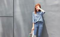 Phối quần jeans ống lửng cho ngày gió mưa