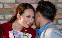 Phương Anh Đào thân thiết với Thái Hòa trong buổi công chiếu phim