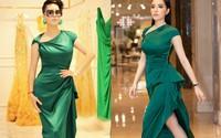 Dù gấp đôi tuổi Kỳ Duyên, nhưng ca sĩ Thu Phương vẫn rất tự tin khi diện cùng một thiết kế váy
