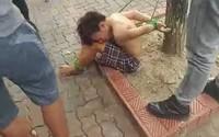 Xôn xao vụ thiếu niên cởi trần bị trói 2 tay, 2 chân vào cây
