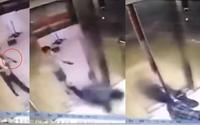 Mải mê xem điện thoại, người phụ nữ vấp té và bị thang máy nghiến mất chân