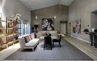 Thiết kế phòng khách cực sang với gam màu xám