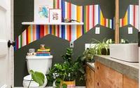 Phòng tắm với sắc màu buồn tẻ được cải tạo sống động với bảng màu cầu vồng với giá 0 đồng