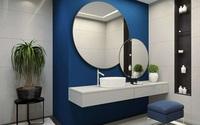 Sự kết hợp giữa sắc xanh, nội thất phù hợp giúp không gian phòng tắm mang vẻ sang trọng, thoáng đoãng, theo The spruce.