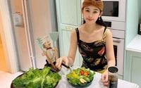 Lê Âu Ngân Anh chăm làm salad, sinh tố giữ dáng