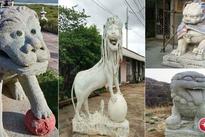 """Cười đau bụng với bộ sưu tập sư tử """"ngáo đá"""" dựng trước cửa những ngôi nhà này"""