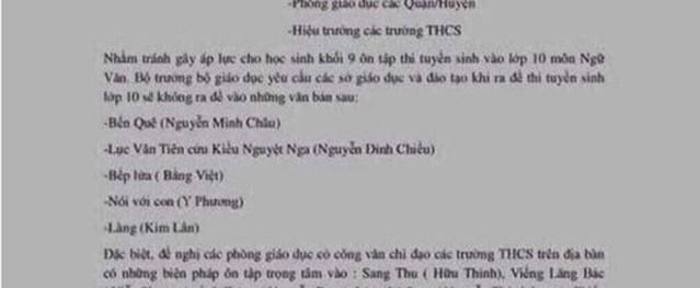 Bộ Giáo dục bị làm giả công văn giảm tải nội dung môn Văn thi vào lớp 10