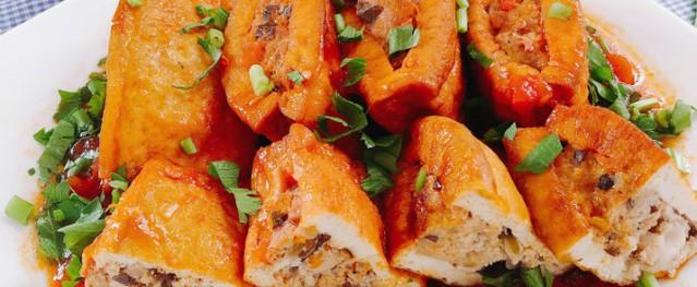 Đậu hũ dồn thịt sốt cà chua dễ làm lại ngon, đủ chất