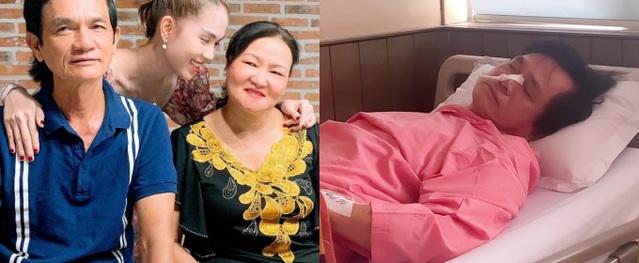 Ngọc Trinh chăm sóc ba ở bệnh viện