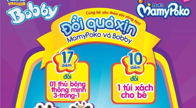 MamyPoko và Tã Bobby khuyến mãi lớn tích điểm đổi quà: Thú bông thông minh và túi xách tiện ích cho bé