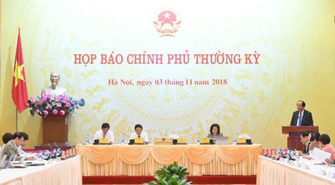 Lãnh đạo Hà Nội vắng mặt trong cuộc họp báo Chính phủ thường kỳ tháng 10