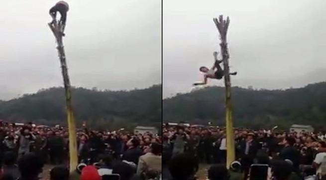 Thông tin chính thức vụ nam thanh niên bất tỉnh do ngã từ ngọn cây chuối cao 5 mét xuống đất trong lễ hội