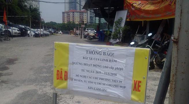 """Sau nhiều ngày chống lệnh, bãi xe """"lậu"""" lớn nhất Linh Đàm buộc phải thông báo ngừng hoạt động"""