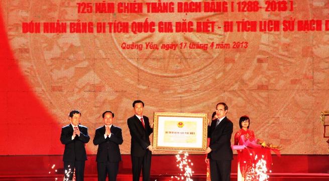 Khu Di tích lịch sử Bạch Đằng đón Bằng xếp hạng Di tích quốc gia đặc biệt