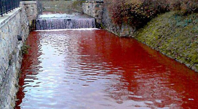 Nước sông chuyển màu máu chỉ trong một đêm