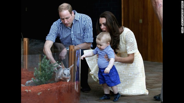 Catherine holds George as he meets a bilby -- Australias version of the Easter bunny -- at Taronga Zoo on April 20.