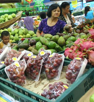 Nho Úc nhập khẩu (theo nhãn đề trên sản phẩm) được bán trong siêu thị BigC.