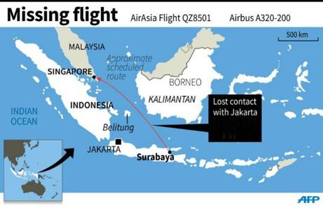 Khu vực tìm kiếm máy bay mất tích sẽ được tiến hành gần đảo Belitung.