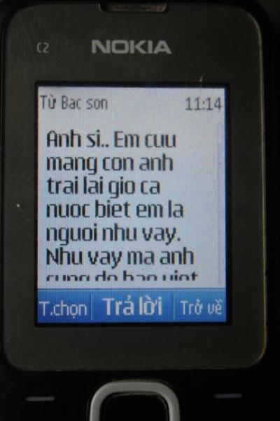 Tin nhắn của đối tượng Sơn gửi chị Giang, mẹ cháu Tú