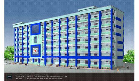 Phối cảnh toàn công trình nâng cấp và mở rộng bệnh viện Quận Thủ Đức (giai đoạn 2).