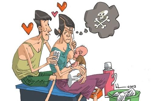 Phụ nữ sau sinh - một trong những đối tượng dễ mắc chứng trầm cảm. Tranh minh họa