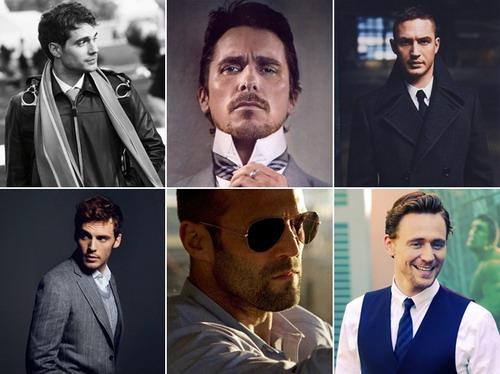 Sáu trong số những tài tử Anh đang gây sốt tại Hollywood (từ trái sang, từ trên xuống) - Henry Cavill, Christian Bale, Tom Hardy, Sam Claflin, Jason Statham và Tom Hiddleston.