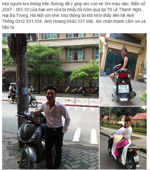 Anh Hoàng đăng tin nhờ tìm xe SH bị mất.