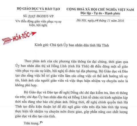 Công văn của Bộ GD&ĐT gửi tỉnh Hà Tĩnh kiểm tra, làm rõ sự việc giáo viên đi hội nghị, sự kiện.