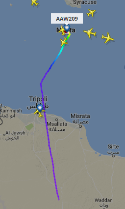 Đường bay của chiếc máy bay bị không tặc khống chế. Đồ họa: Times of Malta.