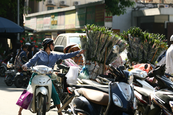 Số người bán hoa dạo cũng đông hơn ngày thường.