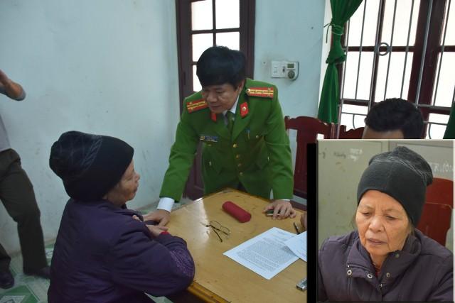 Bà Lê Thị Xuân tại cơ quan công an