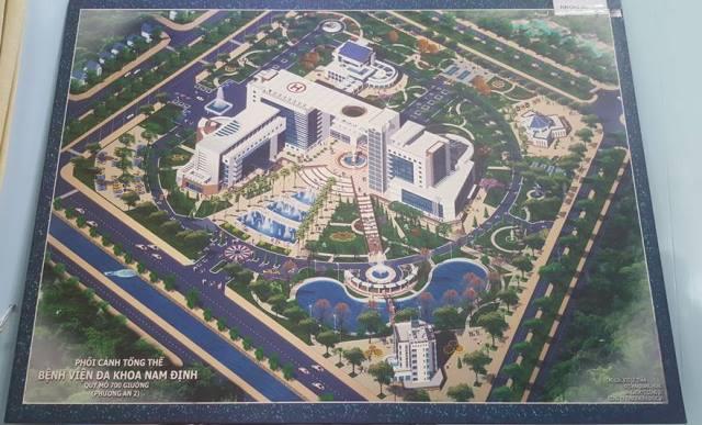 Phối cảnh tổng thể dự án Bệnh viện 700 giường của tỉnh Nam Định.