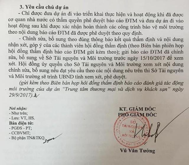 Công văn của Sở Tài nguyên và Môi trường tỉnh Bắc Giang yêu cầu chủ đầu tư chỉnh sửa bổ sung hồ sơ trình duyệt ĐTM