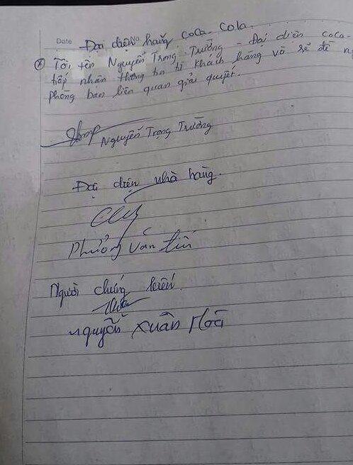 Biên bản được ký bởi chủ nhà hàng, người làm chứng và người được cho là nhân viên của nhà sản xuất. (ảnh: HC)