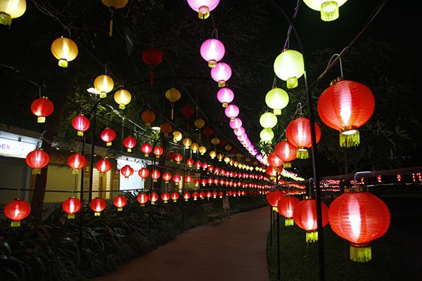Con đường đèn lồng đẹp lung linh trong đêm.