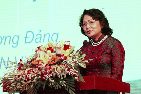 Phó Chủ tịch Nước Đặng Thị Ngọc Thịnh phát biểu ý kiến chỉ đạo tại Lễ mít tinh.