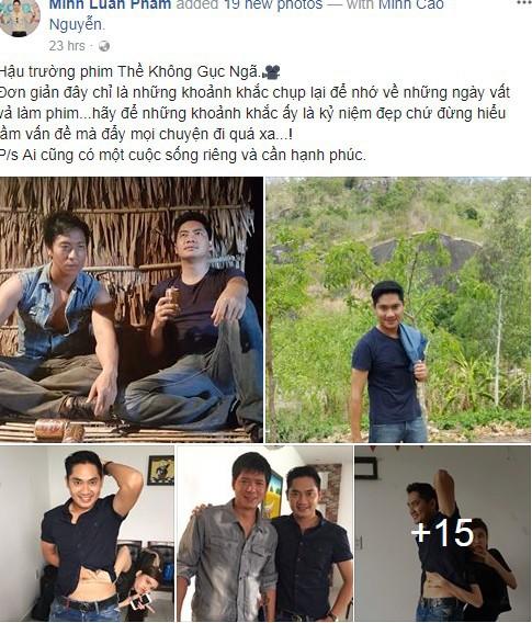 Nam diễn viên Minh Luân đăng tải những hình ảnh hậu trường phim Thề không gục ngã