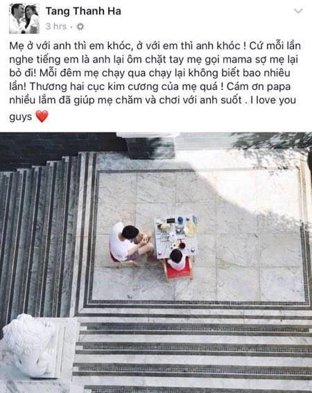 Dòng chia sẻ của Tăng Thanh Hà trên trang cá nhân. Ảnh: CMH.