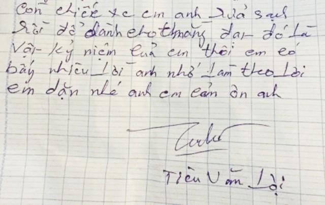 Bức thư tuyệt mệnh của nghi phạm Tiêu Văn Lợi để lại cho người anh trai liên tiếp nhắc đến tên con trai đang ở tù về tội giết người.