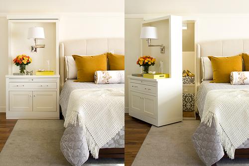 Bàn phấn chính là cánh cửa mở ra một không gian rộng phía trong. Bạn có thể tận dụng làm phòng bí mật, kho để quần áo và cả những món đồ không muốn ai động tới.