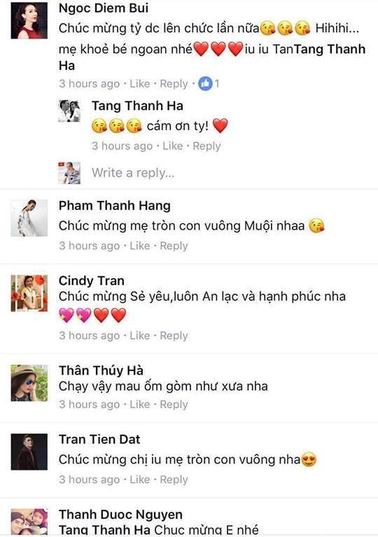 Bạn bè chúc mừng Tăng Thanh Hà đón thêm thành viên mới. Ảnh: CMH.