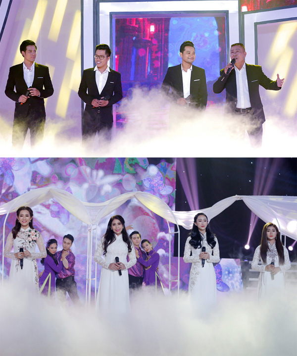 Tám nghệ sĩ tham gia chương trình.