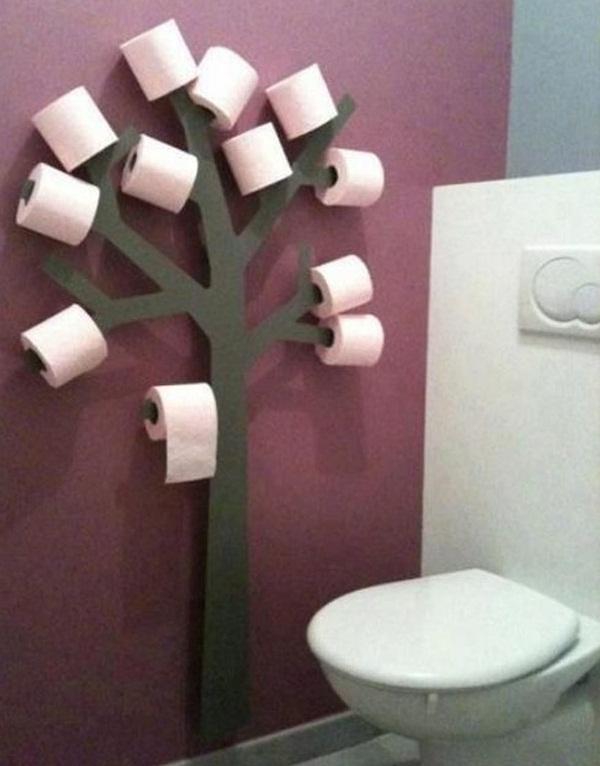 Một ý tưởng sáng tạo dành cho nhà vệ sinh, vừa đẹp, mà lại vừa hữu ích. Thế này thì chắc chắn không lo thiếu giấy vệ sinh dùng nữa rồi!