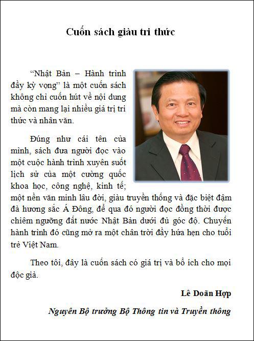 Lời bình của Nguyên Bộ trưởng Lê Doãn Hợp được in ngay đầu sách.